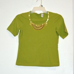 Chicos Perfect Tee Gold & Wood Beaded